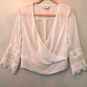 Bebe White Lace Sleeve Top